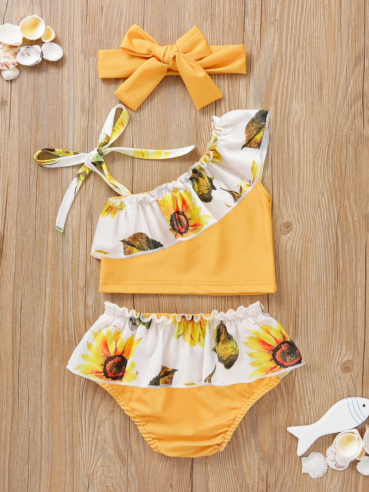 Adorable Sunflower Print Tie-Wrap 2 Piece Swimsuit