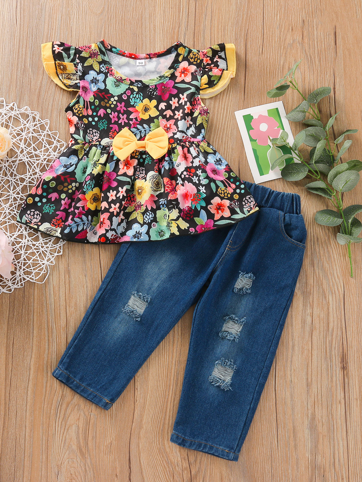 Attractive Flower Print Two Piece Outfit