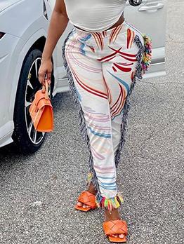 Casual Colourful Line Print Women Long Pants