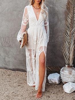 Summer V Neck Solid Lace Slit Maxi Dress