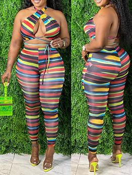 Colourful Striped Tie Wrap Two Pieces Set Plus Size