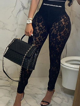 Sexy Lace Patchwork Skinny Ninth Pant For Women