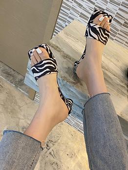 Square Toe Summer Korean Heel Slippers Ladies