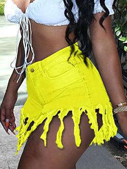 Chic Pure Color Tassel High Waist Denim Hot Pants