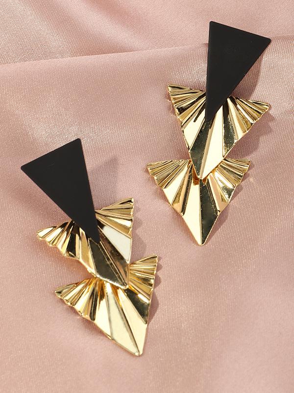 Vintage Exaggerated Geometry Metal Heart Shape Earring