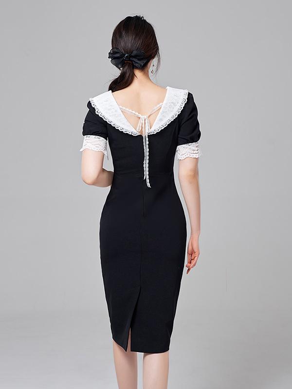 Patchwork Doll Collar Korean Women Sheath Dress