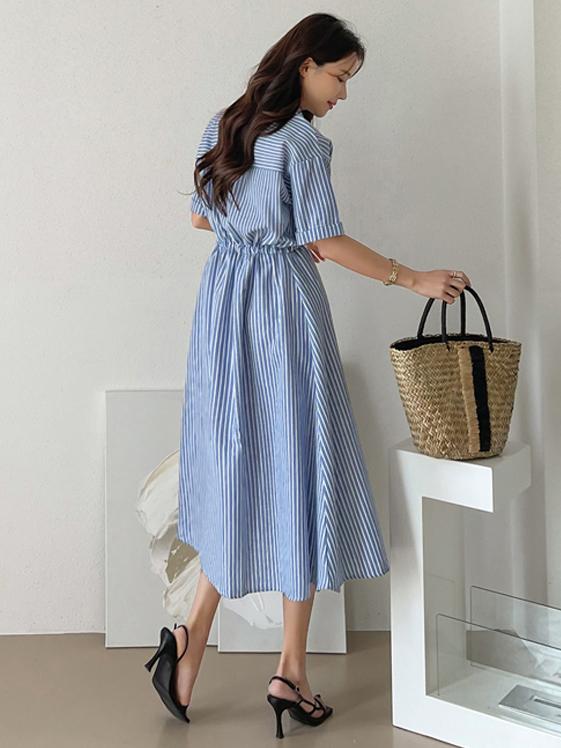 Korean Style Striped Short Sleeve Shirt Dresses