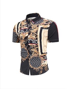 Fashion Printed Button Up Shirt Sleeve Shirt