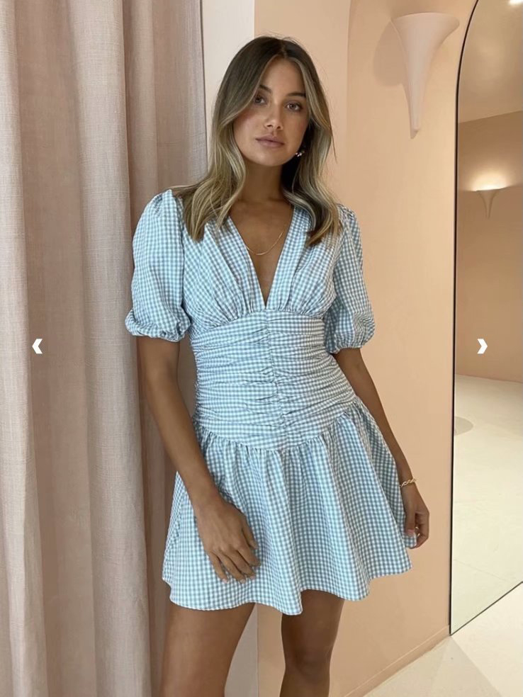 Fashion V Neck Puff Sleeve Plaid Dress