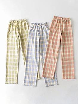 New Trend High Waist Straight Womens Plaid Pants