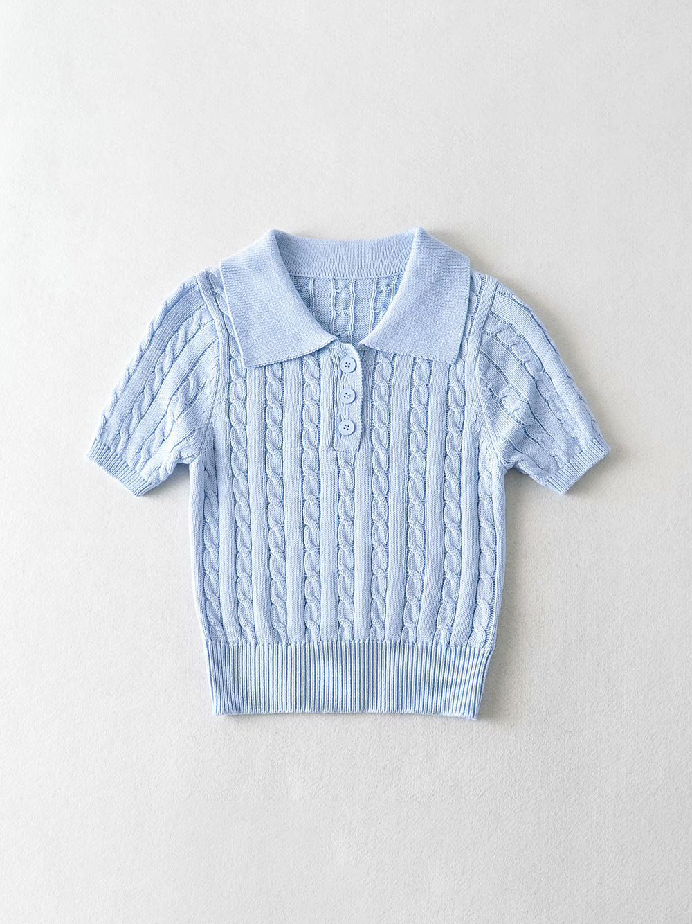 Vintage Solid Knitting Short Sleeve Cropped Blouse