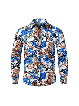 Casual Beach Holiday Butterfly Print Shirts For Men