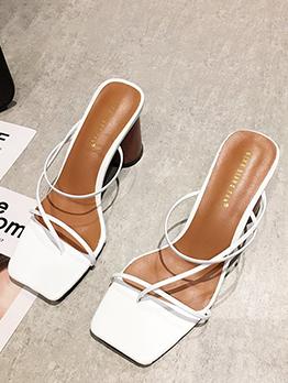 Fashion Square Toe Chunky Ladies Slippers