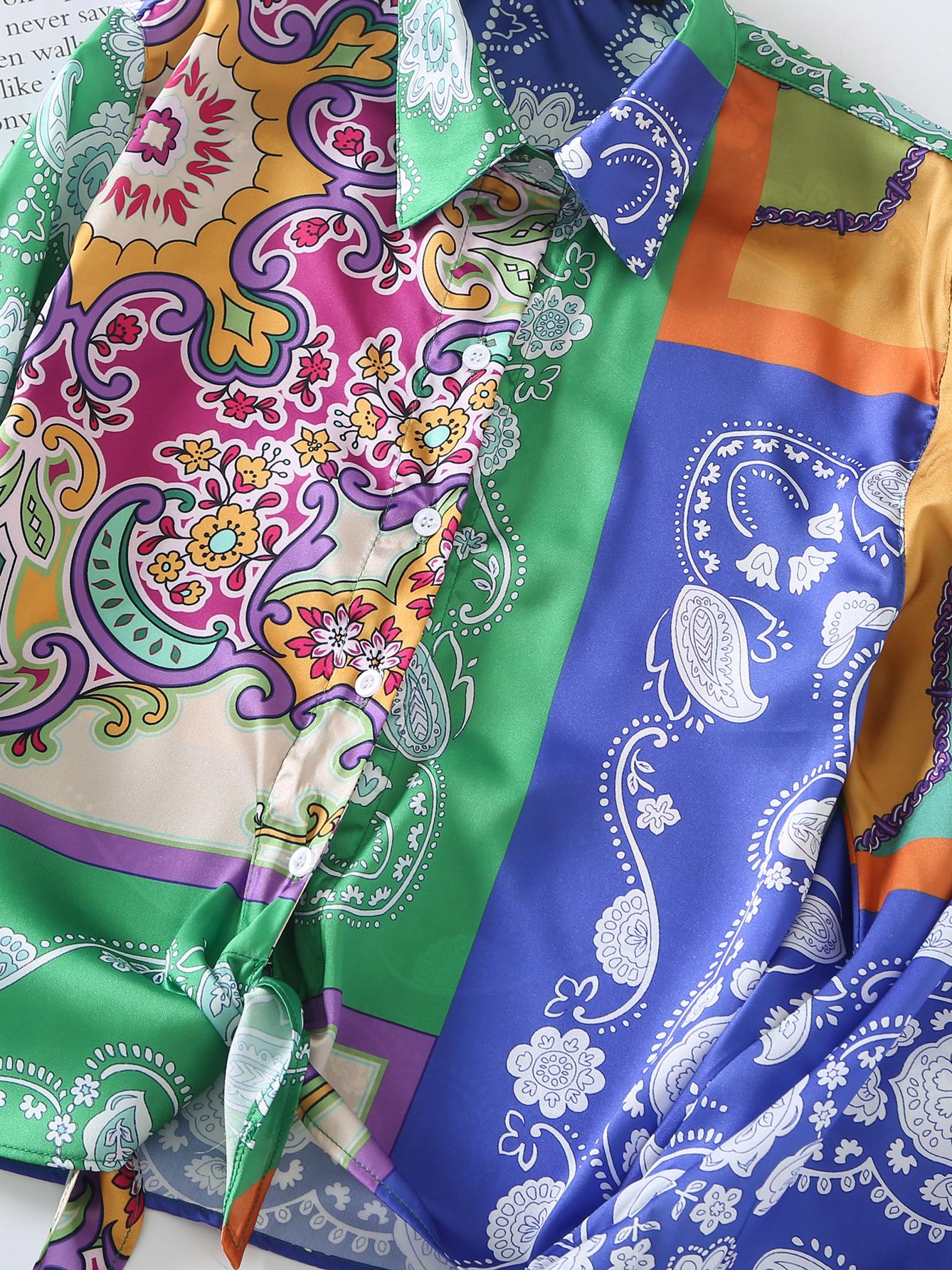 Fashion Loose Printed Long Sleeve Blouse