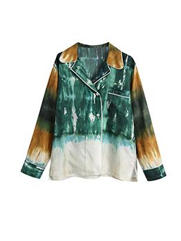 Fashion Tie Dye Loose Notch Collar Blouse