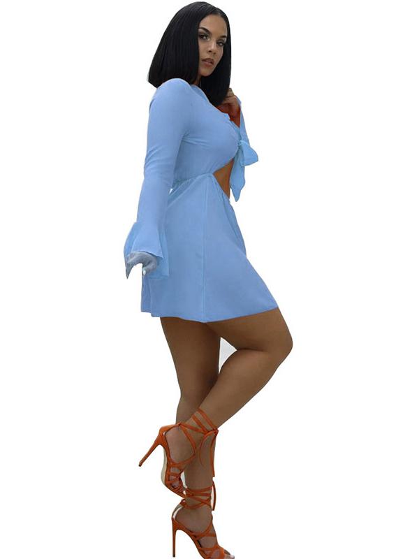 Deep V Neck Long Sleeve Dress