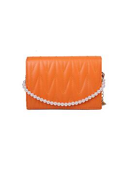 Vintage Faux Pearl Solid Shoulder Bag For Women
