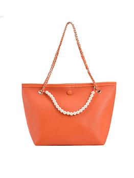 Simple Design Solid Faux Pearl Shoulder Tote Bag