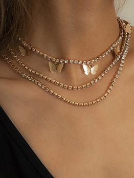 Full Rhinestone Butterfly Fashion Women Necklace