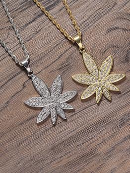 Maple Leaf Pendant Rhinestone Unisex Necklace