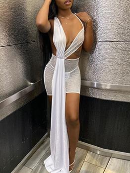 Night Club Perspective Plain White Sleeveless Dress