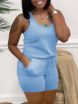 Simple U Neck Pure Color Sleeveless Romper Shorts