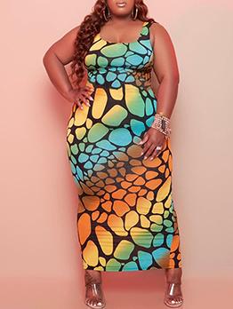 Plus Size Register Print Maxi Dress