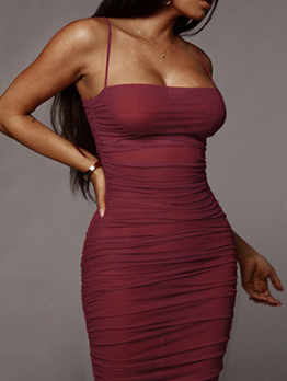 Summer Sexy Gauze Ruched Maxi Bodycon Dress