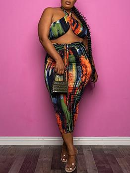 Fashion Printed Plus Size Bodycon Skirt Set