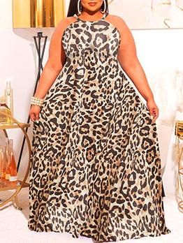 Leopard Printed Halter Plus Size Maxi Dresses