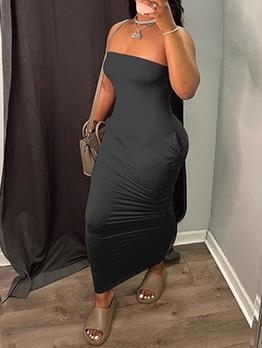 Simple Pure Color Strapless Ladies Maxi Dress