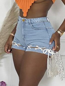Casual Bandage Patch Denim Short Pants