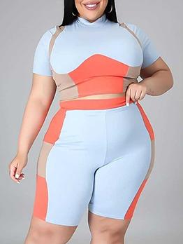 Contrast Color Casual Plus Size 2 Piece Pants Set