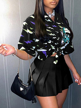 Printed Loose Fashion Two Pieces Skirt Set
