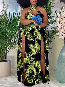 Plus Size Register Print Halter Maxi Dress