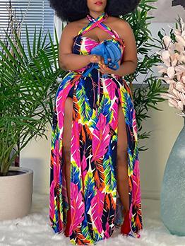 Vacation Colorful Print Plus Size Maxi Dress