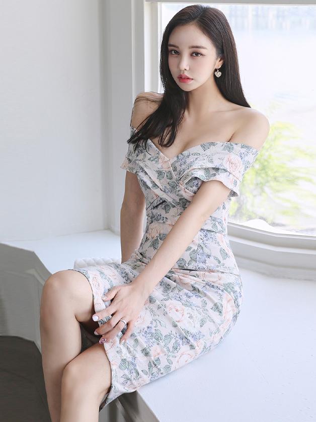 Elegant Pretty Flower Print One Shoulder Dress