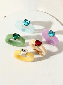 Lovely Resin Rhinestone Heart Shape Women Ring