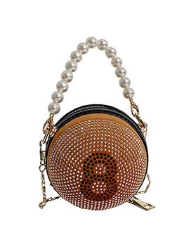 Cute Round Rhinestone Faux Pearl Chain Shoulder Bag