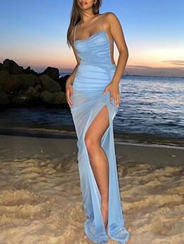 Tempting Pure Blue Sleeveless Slit Maxi Dress