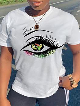 Casual Colorful Eye Print Loose Fitting Tee Shirt