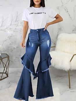 Fashion Ruffles Versatile Denim Bootcut Jeans
