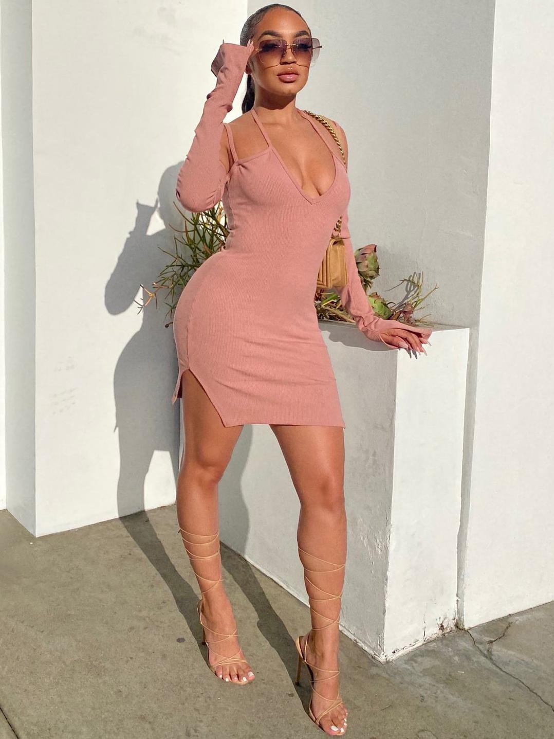 Night Club Solid Long Sleeve Mini Dress