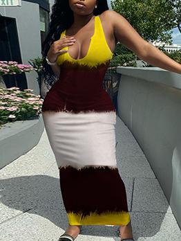 Contrast Color V Neck Sleeveless Maxi Dress