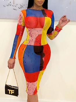 Color Block Printed Gauze Long Sleeve Bodycon Dress