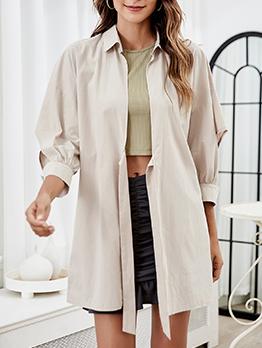 Casual Turndown Collar Solid Versatile Cardigan Coat