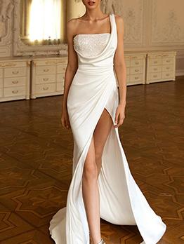 Fashion High Vent Elegant White Evening Party Dresses