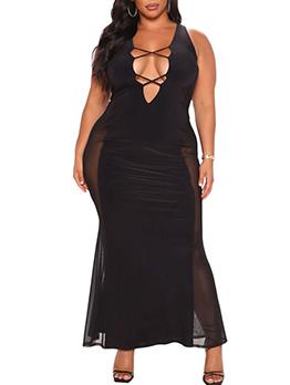 Sexy V Neck Plus Size Patch Maxi Dress