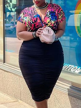 V Neck Plus Size Short Sleeve Print Dress