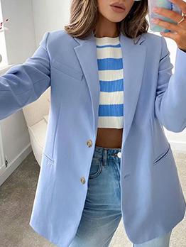 Summer Long Sleeve Pure Lapel Blazer